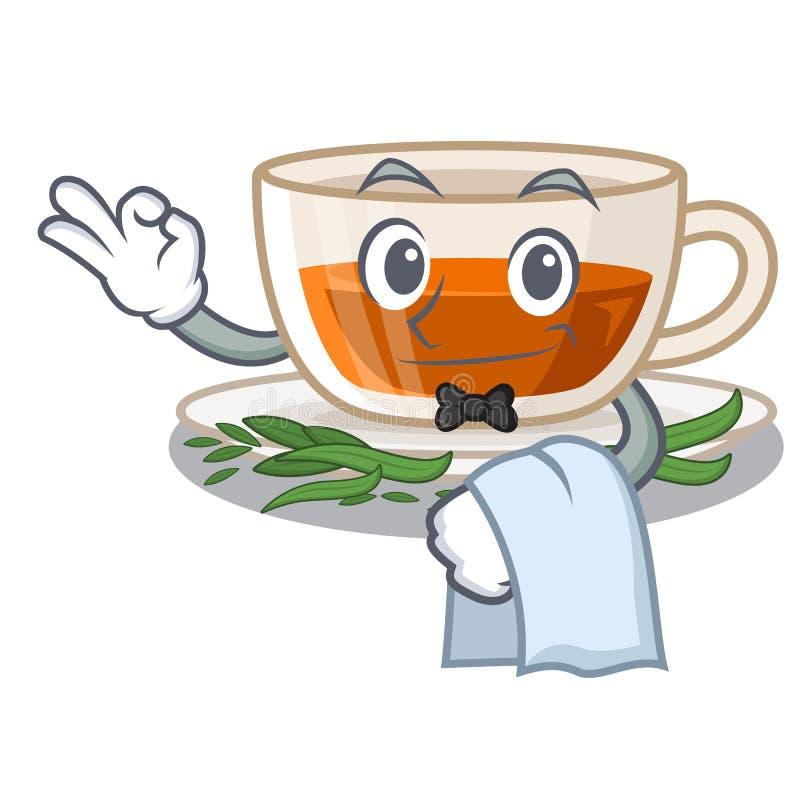 Darjeeling te för uppassare i teckenflaskan royaltyfri illustrationer