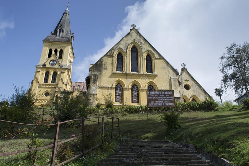 Darjeeling, West Bengal, India : April 13 2018: St Andrews Church, The Mall, Darjeeling is set atop a hill opposite bhanu bhawan. stock image