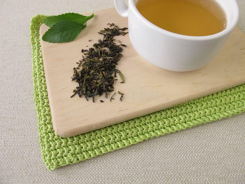Darjeelings groene thee en stevia stock afbeeldingen