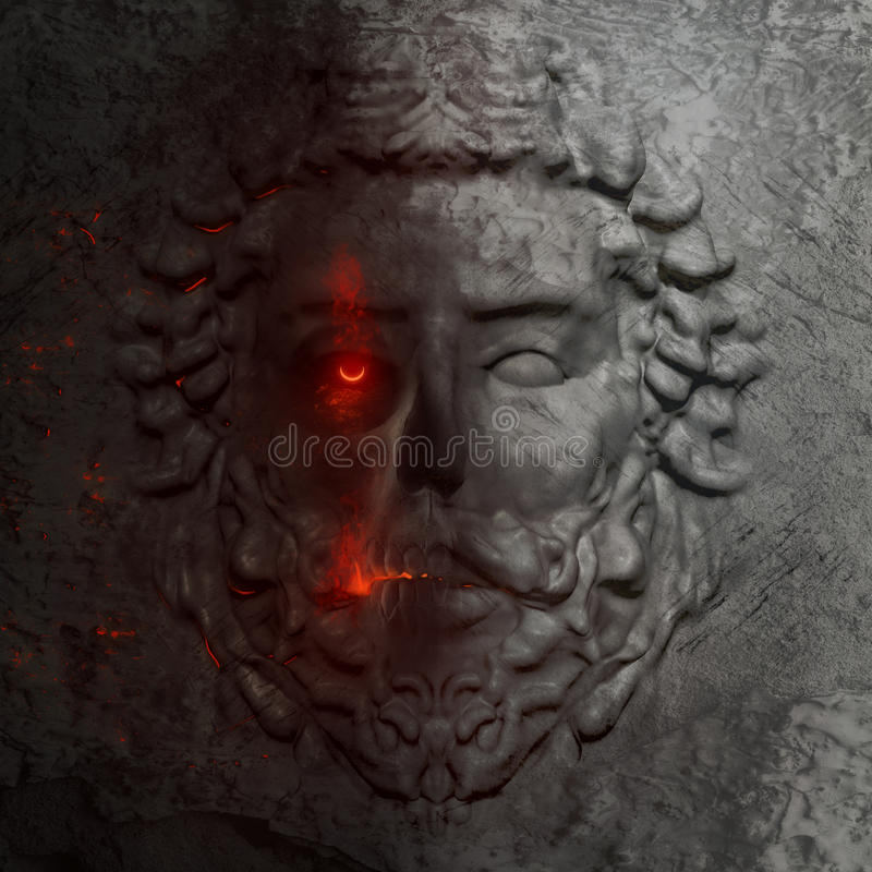 Free Dark 3d Model Of A Greek Man Bas-relief Facial Statue. Stock Images - 80358824