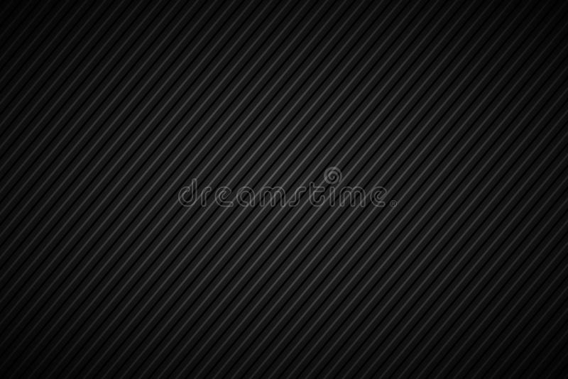 Dark abstract background, black and grey striped pattern. Diagonal lines and strips, carbon fiber, vector illustration stock illustration