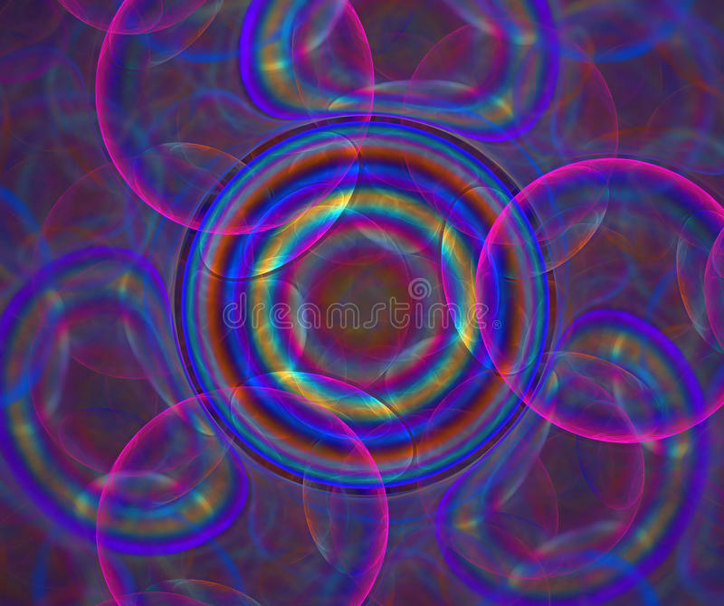Dark abstract background with rainbow bubbles texture. Circles o royalty free illustration