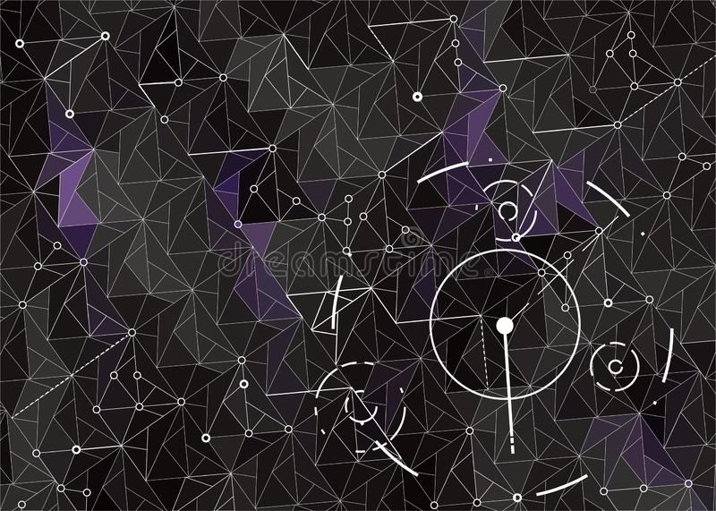 Dark abstract Hud background with geometric shapes stock illustration
