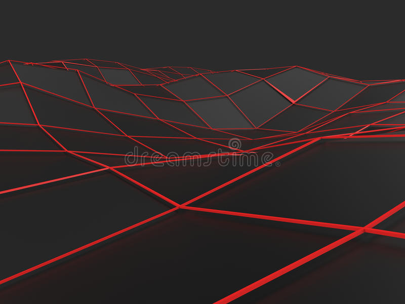 Dark abstract low poly waves with red lines royalty free illustration
