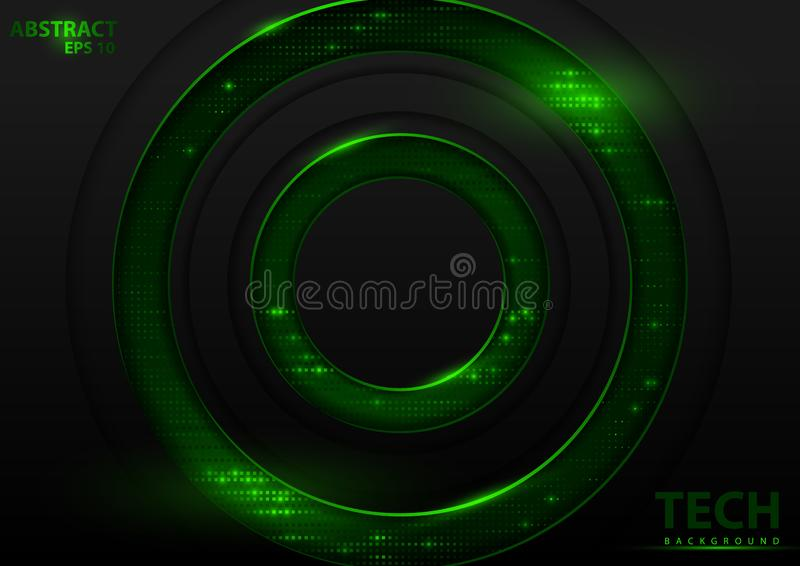 Dark Abstract Tech Background with Green Elements royalty free illustration