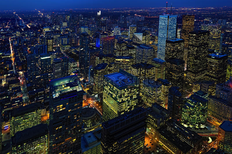 After dark aerial of Toronto city center. An after dark aerial of Toronto city center stock photos