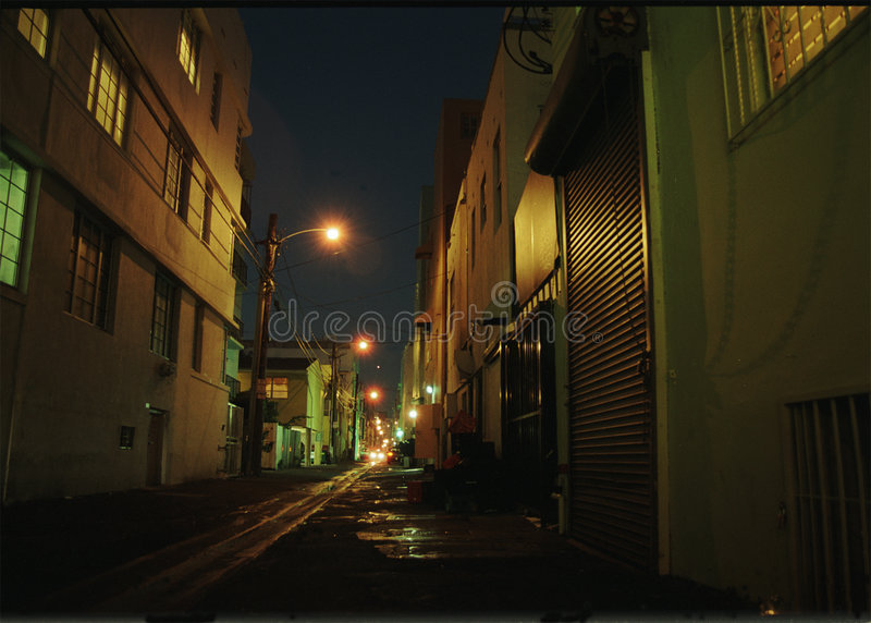 Dark Alley. In South Beach royalty free stock photos