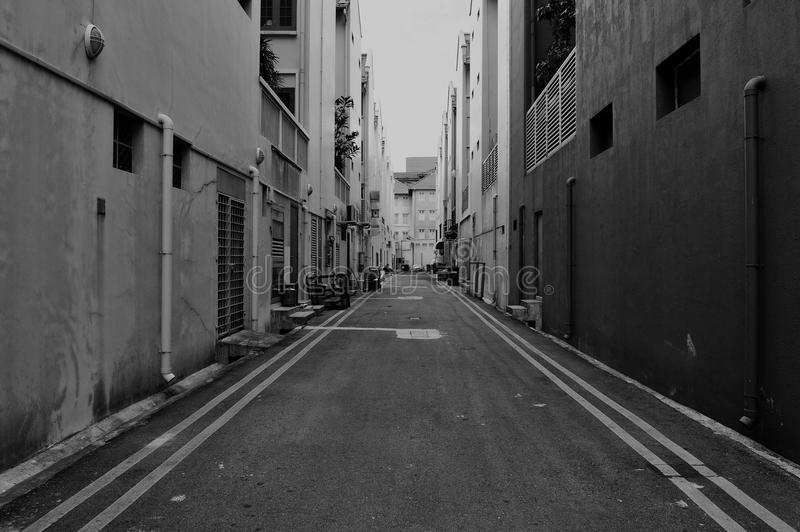 Dark Alley. Deserted Dark Alley in Inner City Singapore stock photo