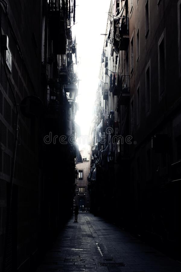 Dark Alley at Barcelona royalty free stock photography