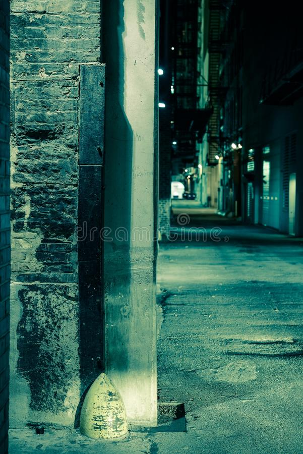 Dark Alley Corner. Chicago Alley at Night. Vertical Photo royalty free stock images
