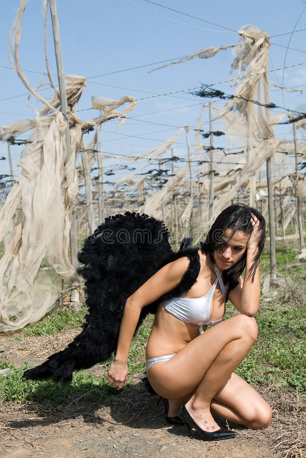 Dark Angel In Desolated Landscape Stock Photography