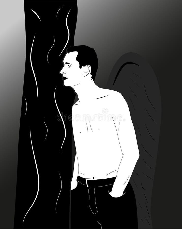Dark angel. Man dark angel watching from behind a tree vector illustration