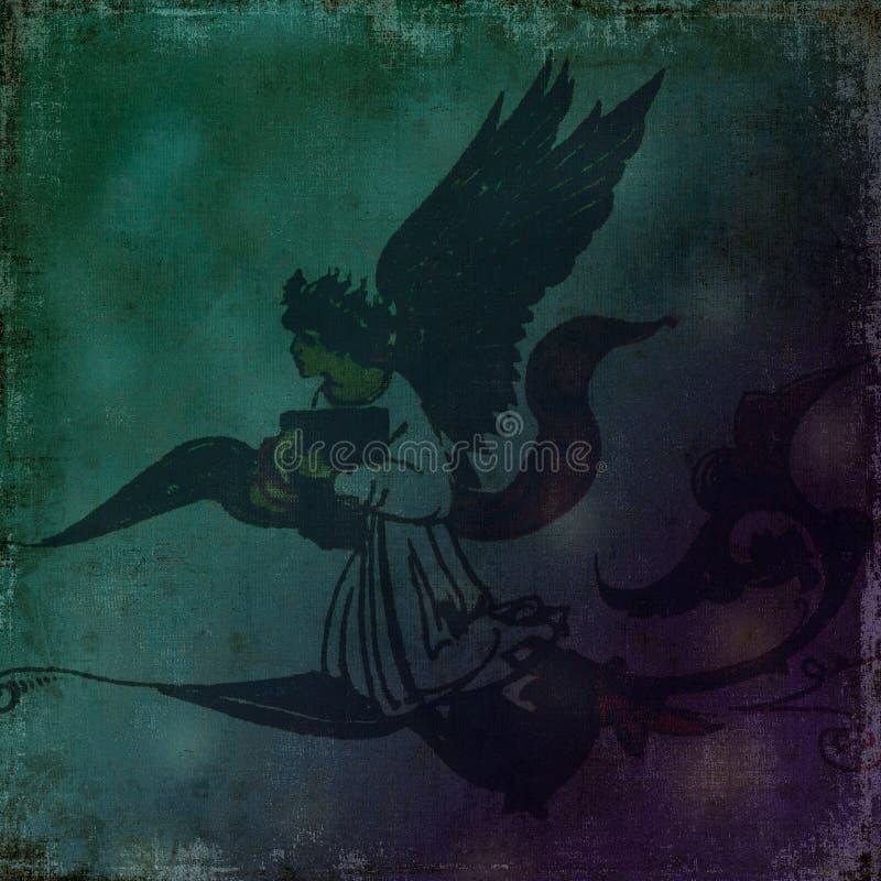 Dark Angel spirit scroll - Grungy background royalty free illustration