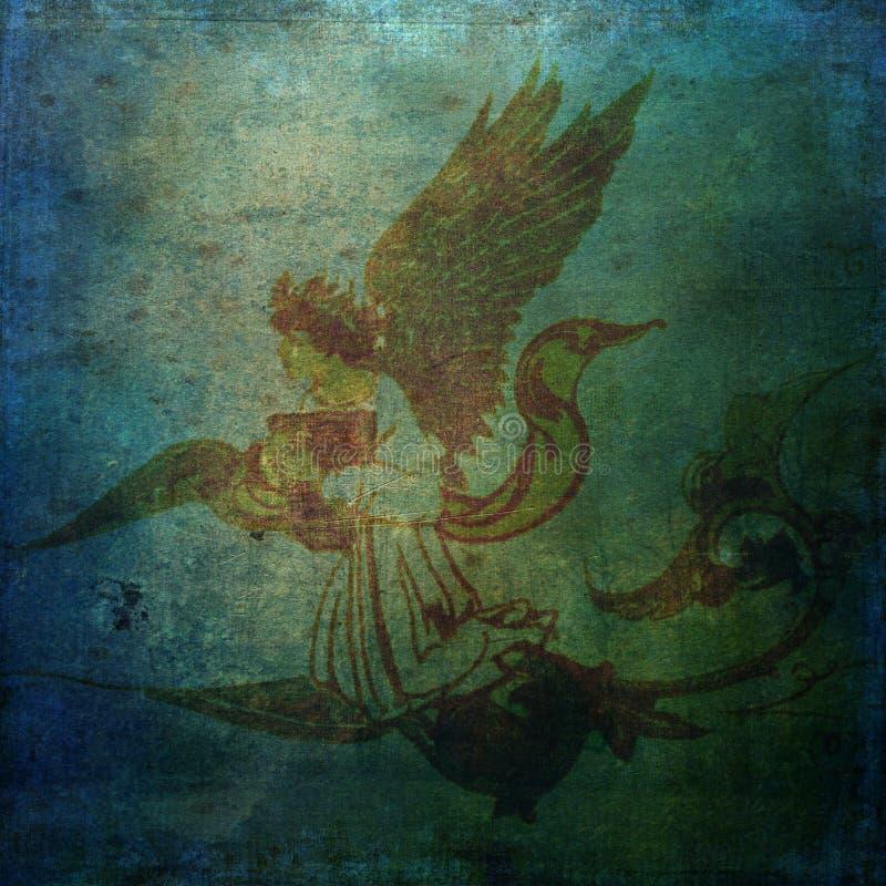 Dark Angel spirit scroll water - Grungy background stock photo