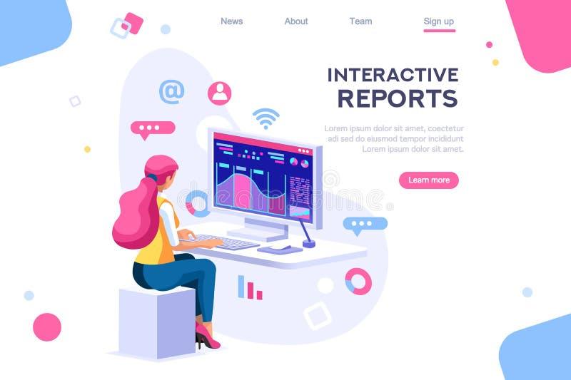 Dark Application Build Interacting Concept stock illustration