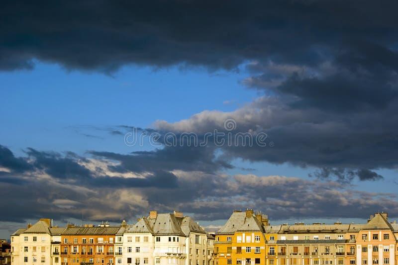 Dark autumn sky stock image