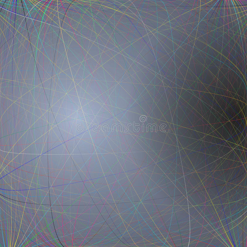 Dark background with colorful abstract lines. Bright color chaotic. Colorful dark background with abstract lines. Bright color chaotic, random, messy curves royalty free illustration