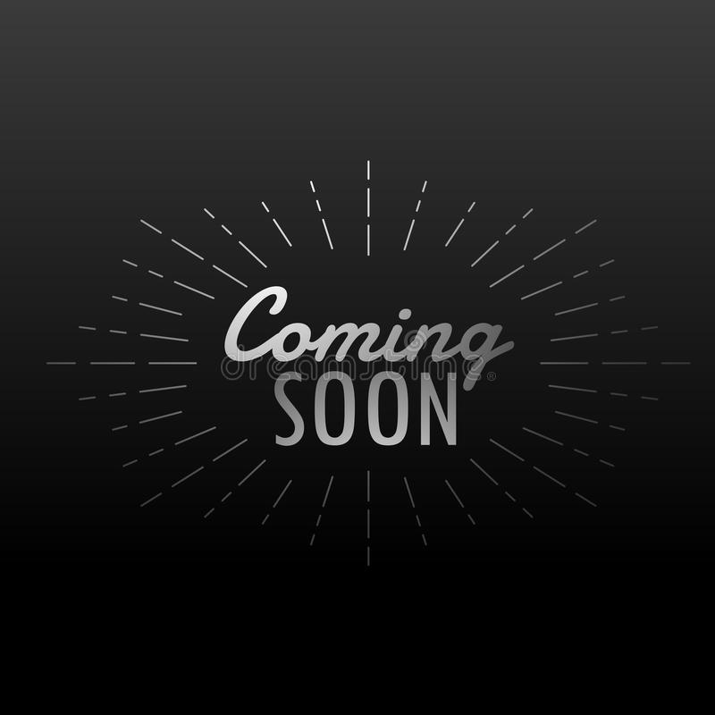 Dark background with coming soon text with line rays royalty free illustration