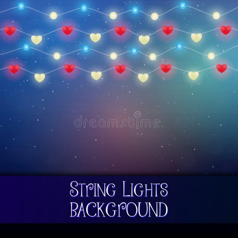 Dark background with decorative string lights. Bright shining light bulbs garlands. royalty free illustration