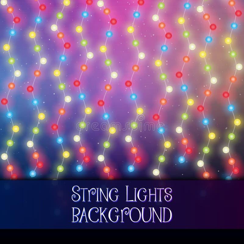 Dark background with decorative string lights. Bright shining light bulbs garlands. Dark background with decorative string lights. Bright shining light bulbs stock illustration