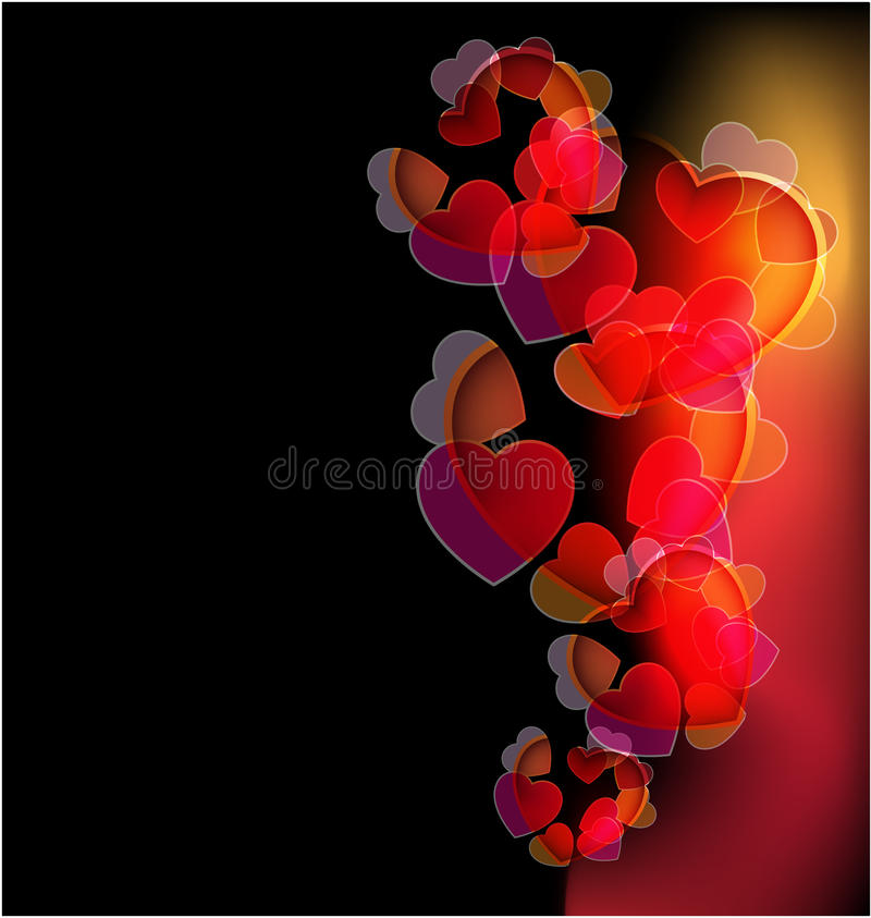 Dark background with glowing hearts