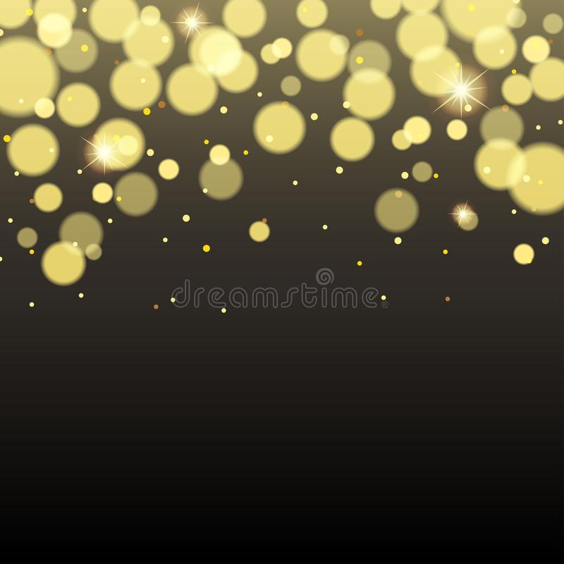Dark background with golden bokeh lights and sparkles royalty free illustration