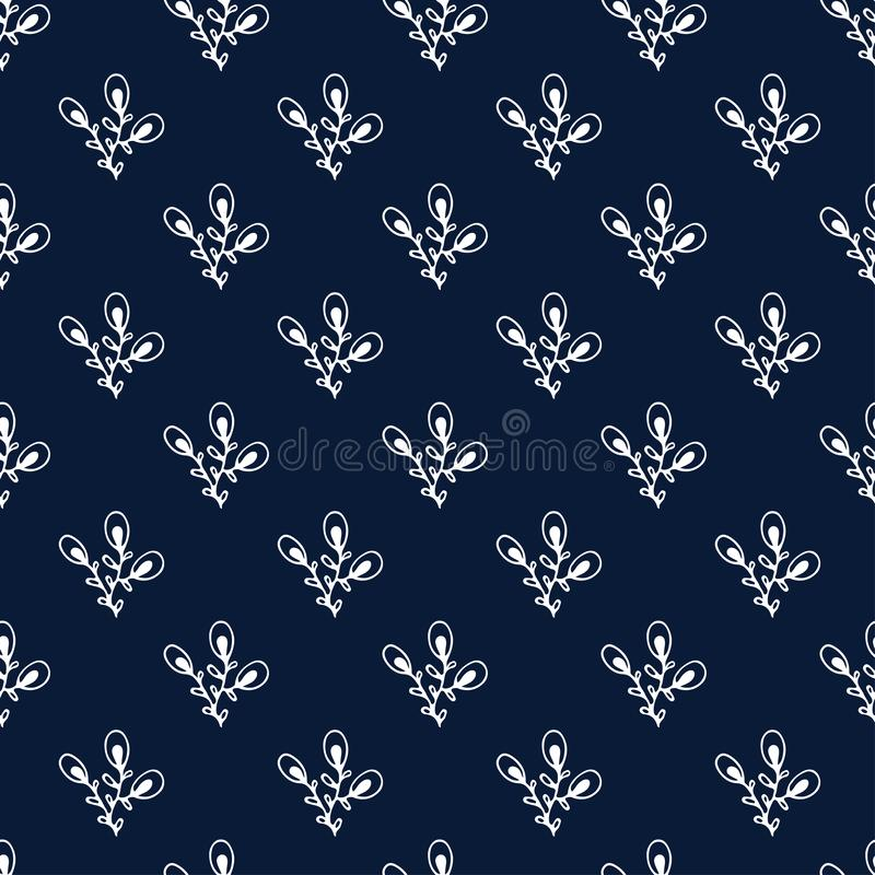 Dark background with little leaves. Floral seamless pattern. Simple wallpaper design. Modern repeating pattern. vector illustration