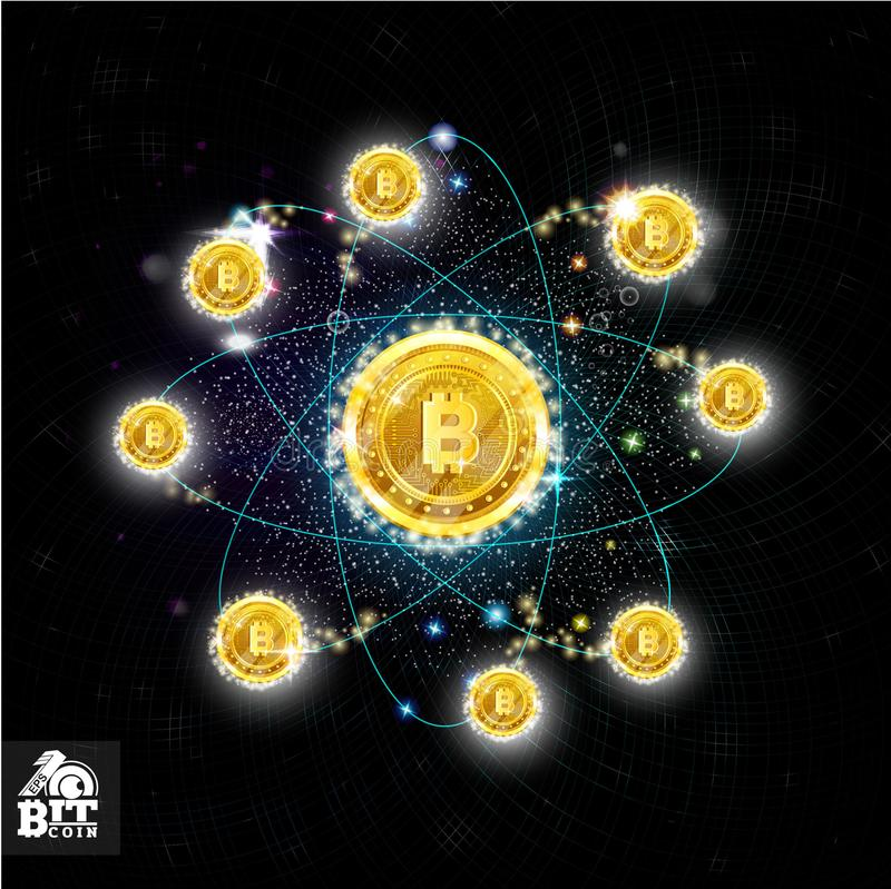 Dark background with shinny orbits in space with main bit coin in center and around. Dark background with shinny orbits in space with main bit coin in center and stock illustration
