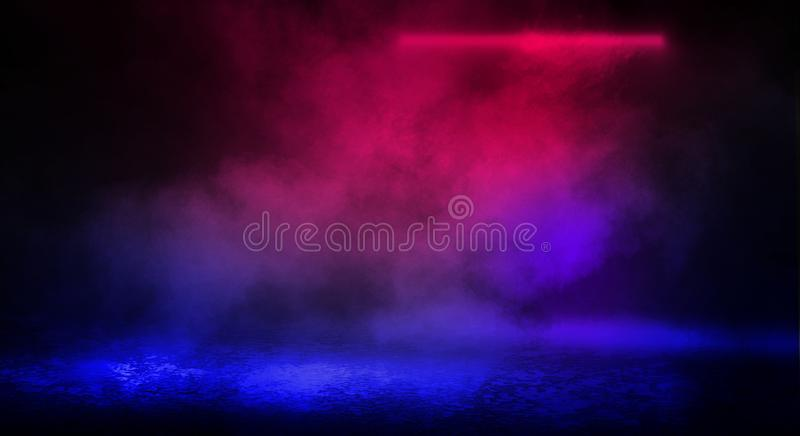 Dark background of the street, thick fog, spotlight, blue and red neon. Abstract background with neon lights, night view stock images