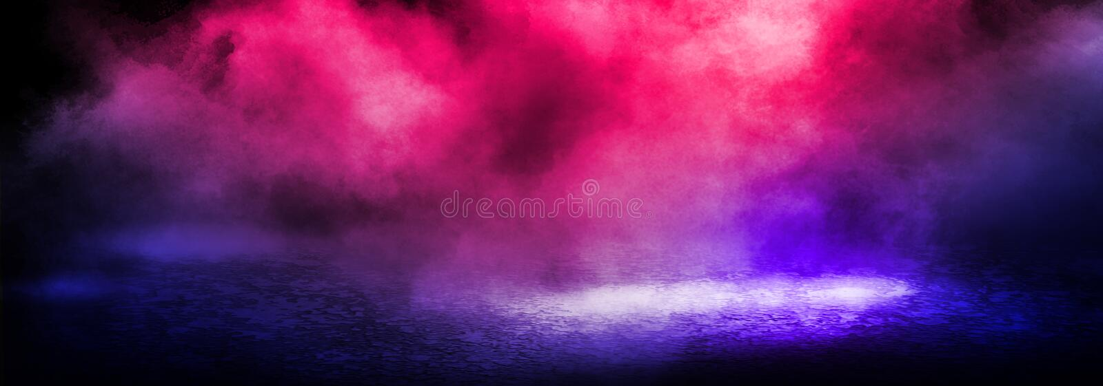 Dark background of the street, thick fog, spotlight, blue and red neon. Abstract background with neon lights, night view royalty free stock photos