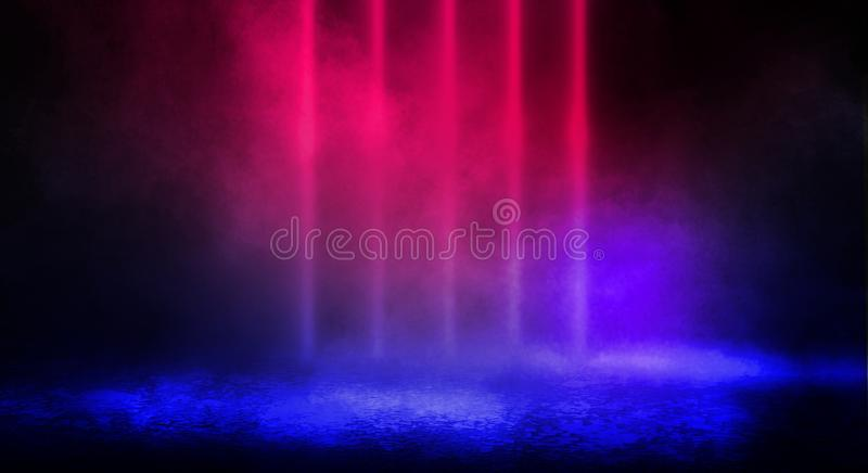 Dark background of the street, thick fog, spotlight, blue and red neon. royalty free stock photo