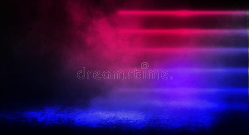Dark background of the street, thick fog, spotlight, blue and red neon. Abstract background with neon lights, night view royalty free stock photo