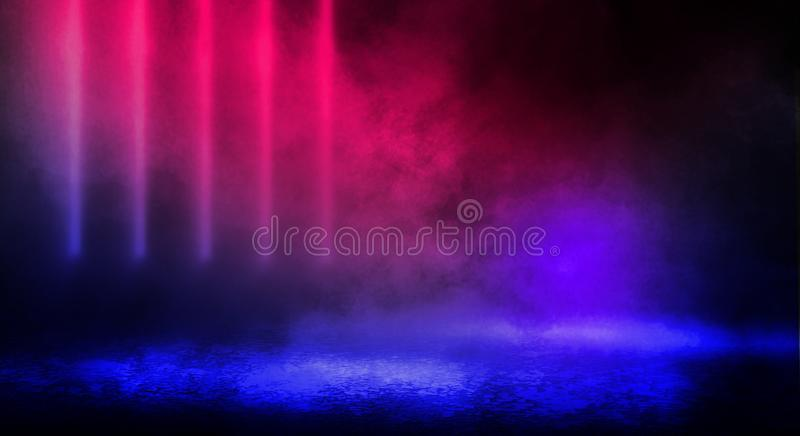 Dark background of the street, thick fog, spotlight, blue and red neon. Abstract background with neon lights, night view royalty free stock image