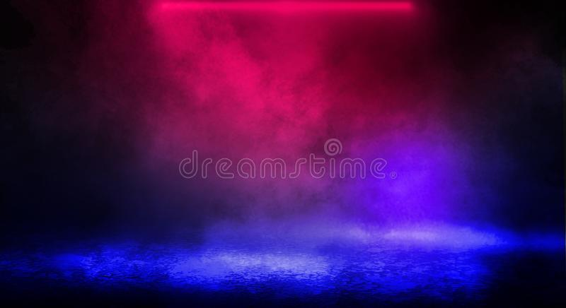 Dark background of the street, thick fog, spotlight, blue and red neon. Abstract background with neon lights, night view stock image