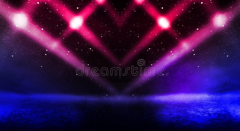Dark background of the street, thick fog, spotlight, blue and red neon. Abstract background with neon lights, night view stock photo