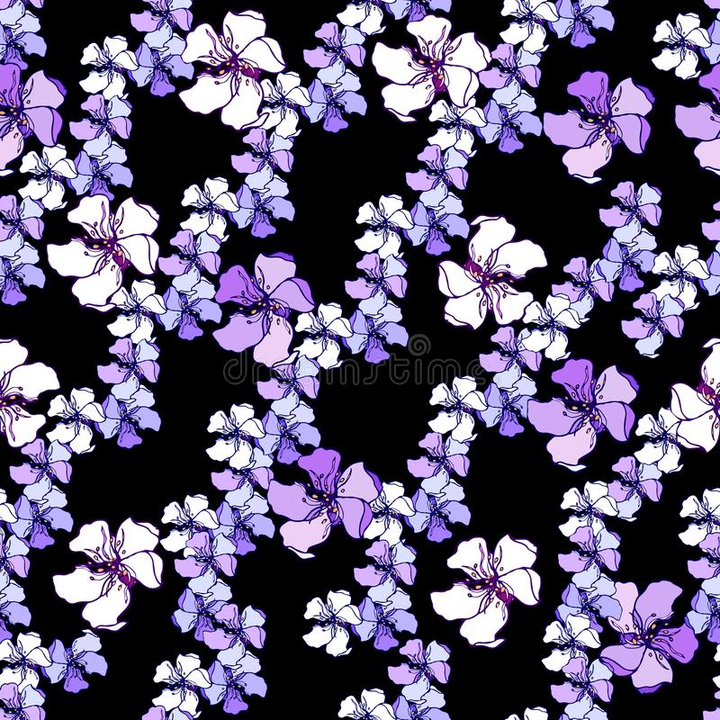 Dark background with vector with white and pink vector flowers. Ornament for tiles and fabrics. Endless textures. Dark background with vector with white and pink royalty free illustration