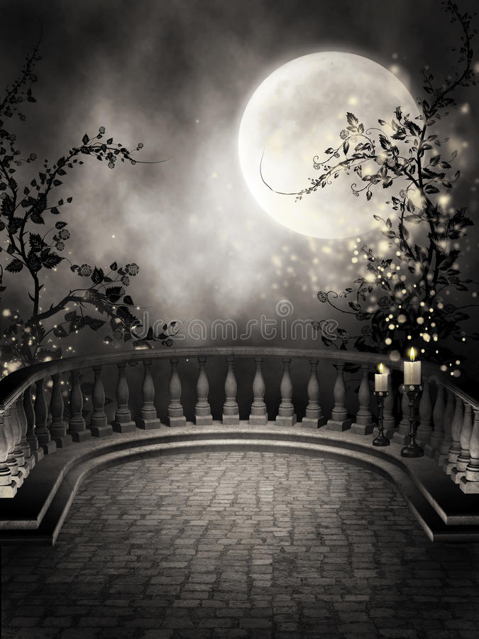 Dark balcony with candles. Dark gothic balcony with candles and vines vector illustration