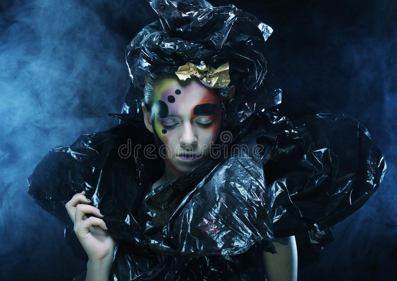 Dark Beautiful Gothic Princess.Halloween party. royalty free stock photography