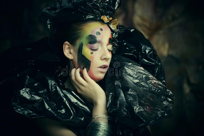 Dark Beautiful Gothic Princess. Close up. Halloween party concept. stock images