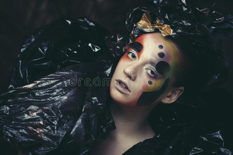 Dark Beautiful Gothic Princess. Close up. Halloween party concept. Black background stock photography