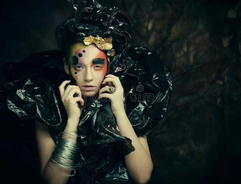 Dark Beautiful Gothic Princess. Close up. Halloween party concept. Black background stock image