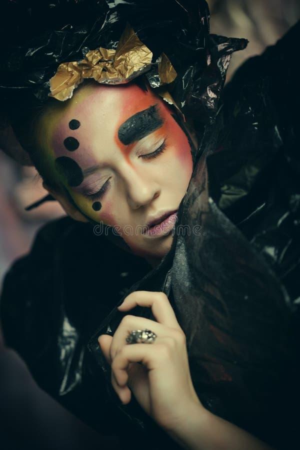 Dark Beautiful Gothic Princess. Close up. Halloween party concept. Black background stock photos