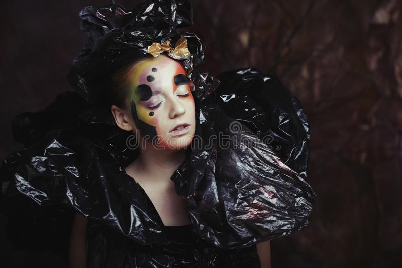 Dark Beautiful Gothic Princess.Halloween party concept. Close up portrait stock photography