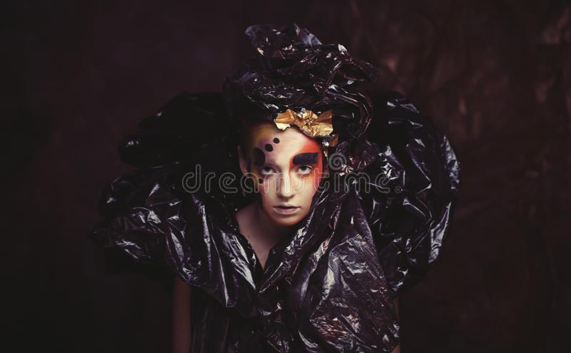 Dark Beautiful Gothic Princess.Halloween party concept. Close up portrait royalty free stock photo