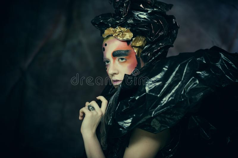 Dark Beautiful Gothic Princess.Halloween party stock photography