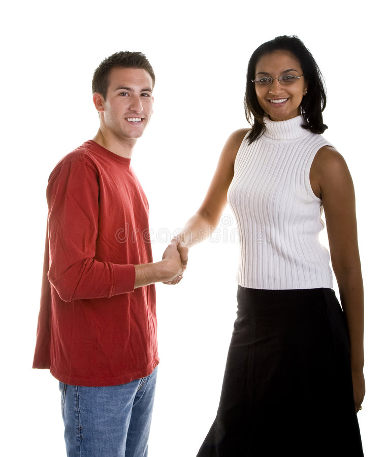 Download Dark Beauty Shaking Hand With Casual Man Stock Image - Image of african, hair: 6802639