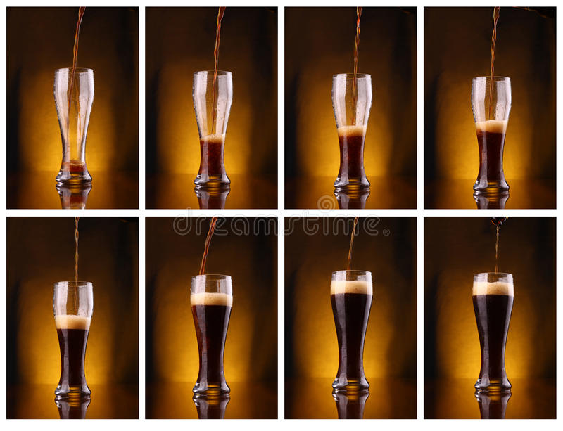 Dark beer pouring. Shot series mosaic of dark beer pouring into a tall glass royalty free stock images