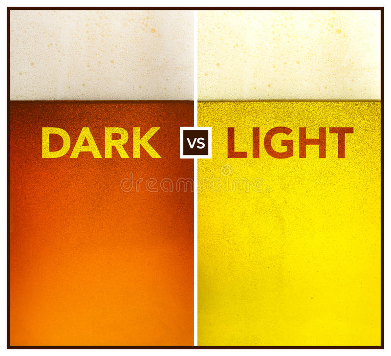 Dark beer vs gold beer royalty free stock images