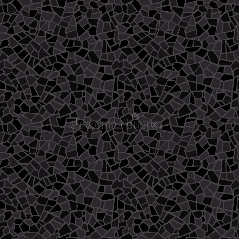 Dark black abstract mosaic seamless pattern. Vector background. Endless texture. Ceramic broken tile fragments. Abstract mosaic seamless pattern. Vector stock illustration