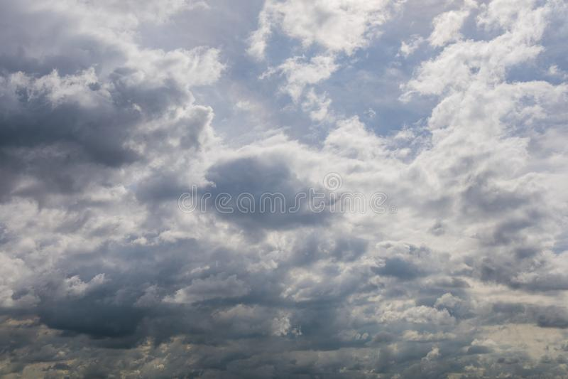 Dark or black clouds on the sky before storm raining. Season nature background royalty free stock image